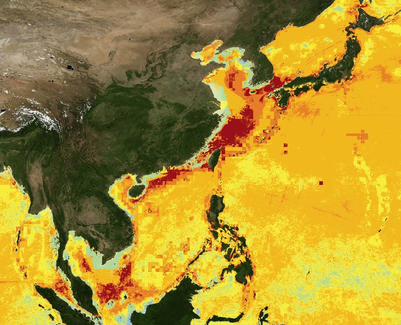 Impacto das atividades humanas sobre os oceanos , mapa mundi mostrando a ásia