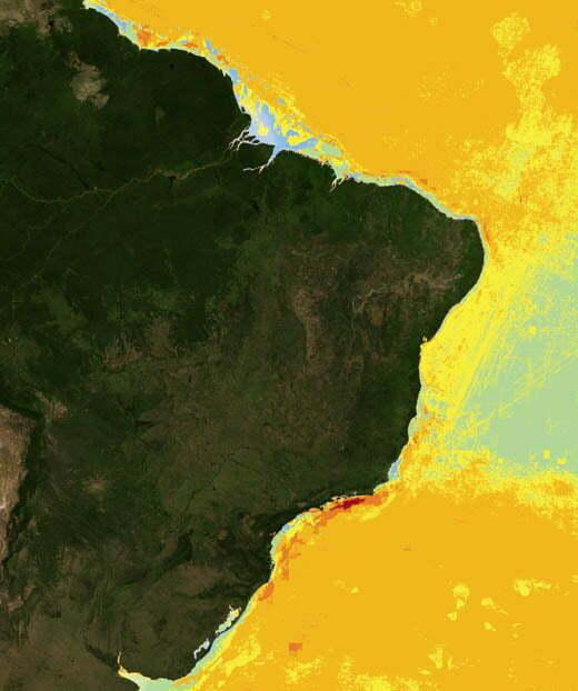 Impacto das atividades humanas sobre os oceanos , mapa mundi mostrando litoral do Brasil