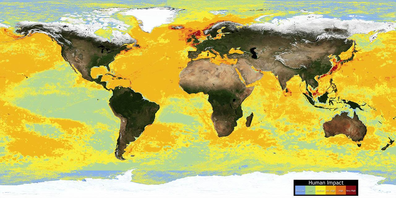 Impacto das atividades humanas sobre os oceanos , mapa mundi
