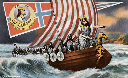Vikings com senso estético, gravura de barco viking navegando