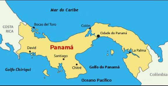 Ilustração de mapa mostrando o Canal do Panamá