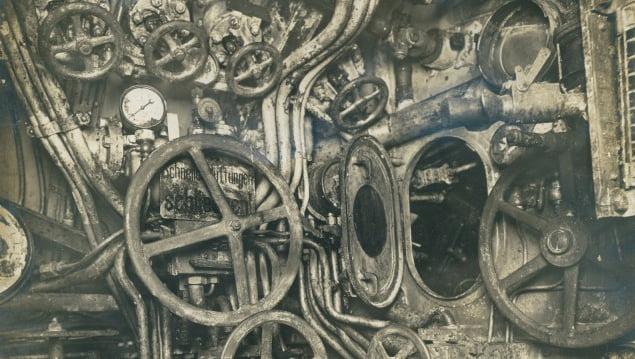 Submarino alemão UB-88, imagem do interior do Submarino alemão UB-88