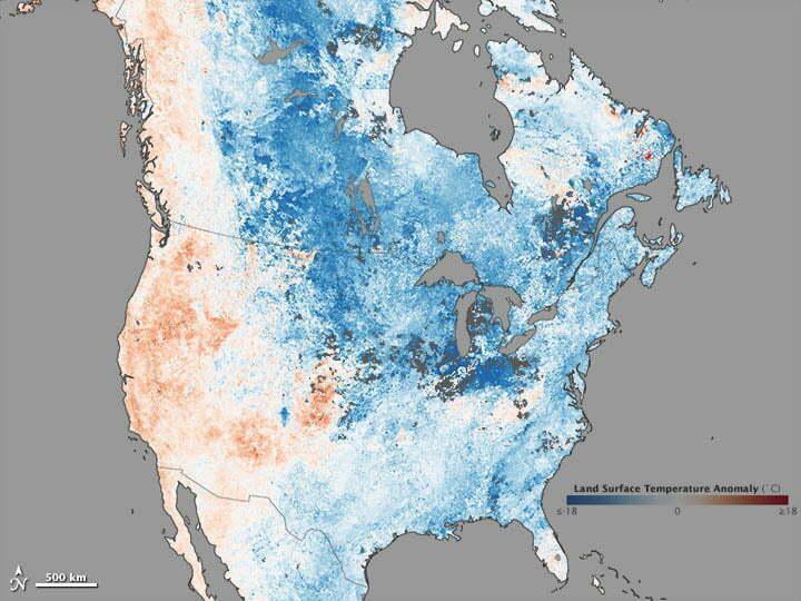 Calor e frio extremos, mapa mostrando o frio nos USA
