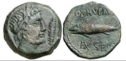 imagem de moeda antiga com imagem do atum