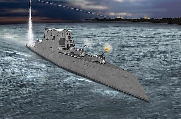 Ilustração na água do destróier americano Zumwalt o navio de guerra mais caro do mundo