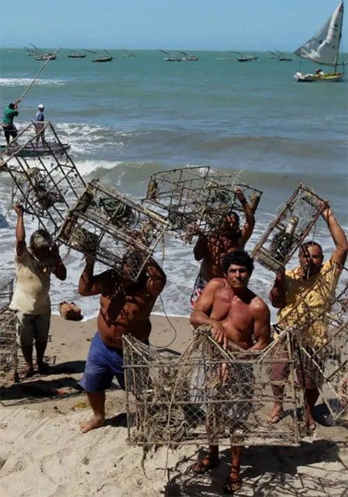 Imagem de pescadores de lagostas o Ceará