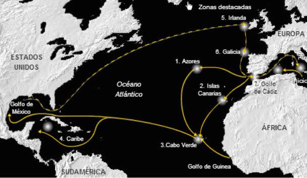 imagem de mapa com rota de atuns