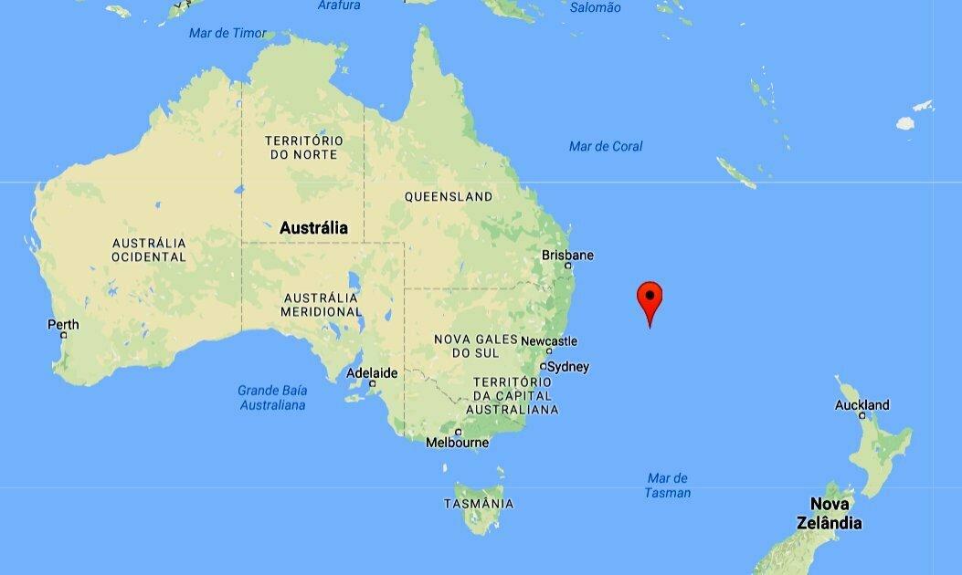 lixo plástico nos oceanos, mapa com a localização de Lord Howe Island