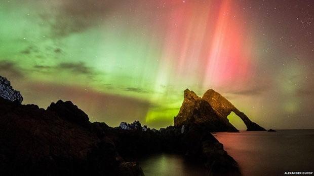 Auroras boreais, Imagem de auroras boreais nos ceus da Grã-Bretanha
