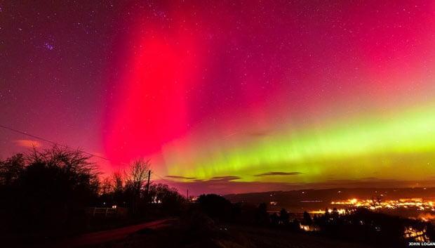 Auroras boreais, Imagem de aurora boreal nos ceus da gra-bretanha