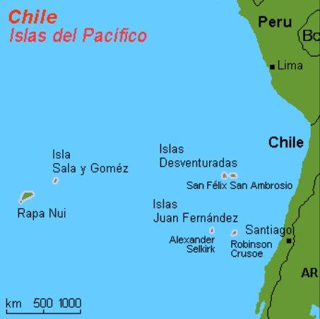 Expedição às Ilhas Desventuradas, mapa com localização das Expedição às Ilhas Desventuradas