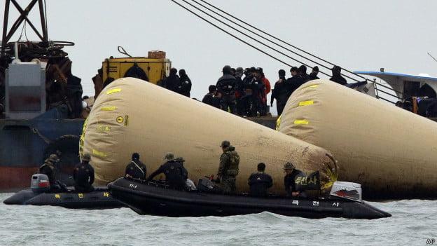 Balsa da Coreia do Sul, foto de busca a sobreviventes de naufrágio de balsa-Coreia do Sul