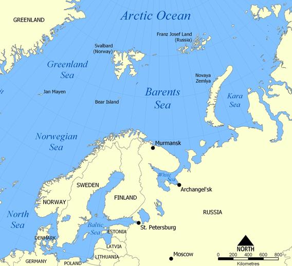 Mapa do mar de Barents.