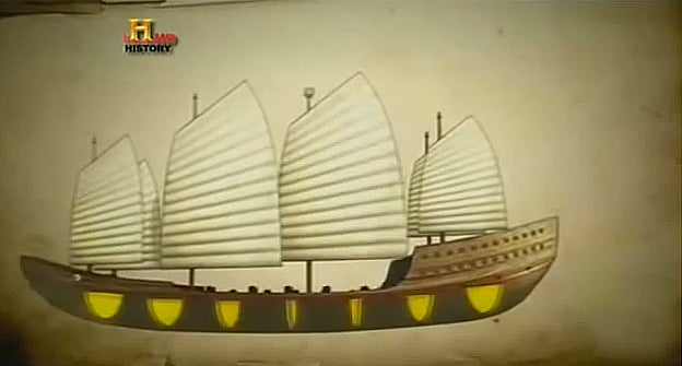 Ilustração dos compartimentos estanques de juncos chineses
