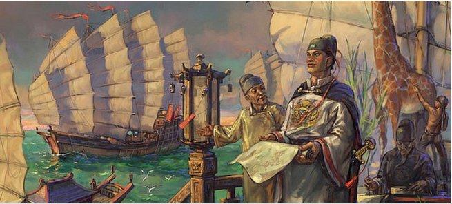 Gravura mostra Zheng He no comando da frota chinesa