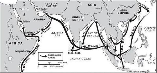 mapa das viagens do almirante chinês Zheng he