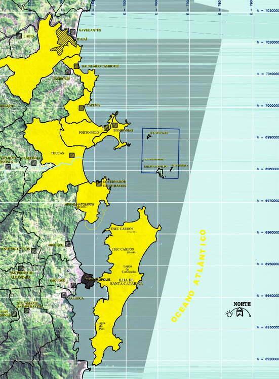 mapa da reserva biológica marinha do arvoredo
