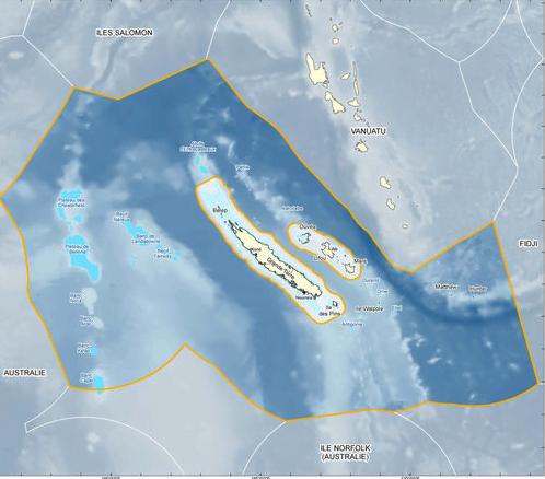 área marinha protegida na França, imagem do mapa do Parque Natural Marinho da Nova Caledônia.