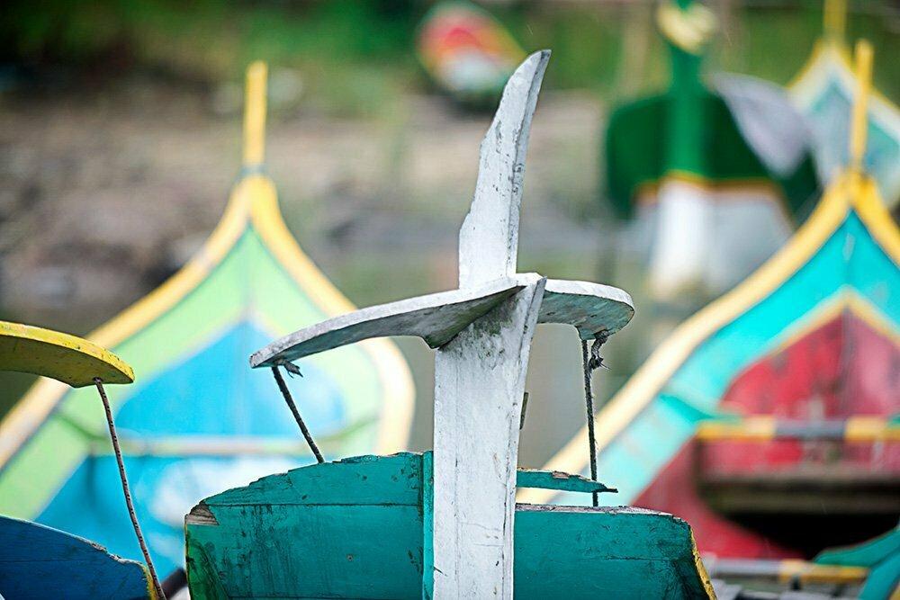 detalhe-do-leme-de canoa de bordadura,APA E ESEC de Guaraqueçaba