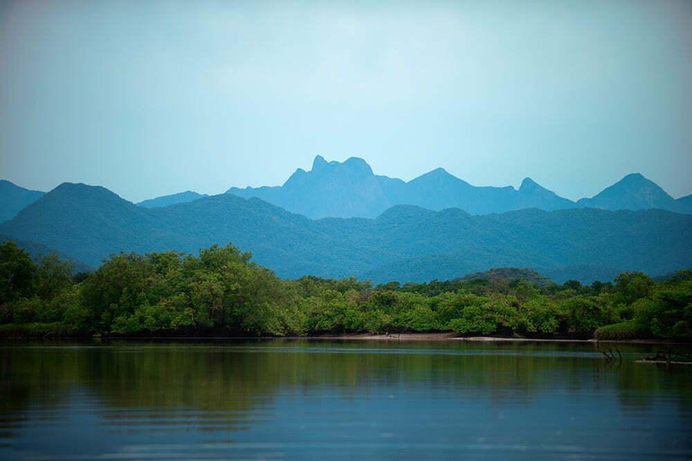 paisagem com montanhas no lagamar do Paraná-APA E ESEC de Guaraqueçaba