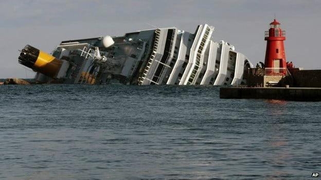 operação de resgate do costa concordia ,imagem do costa concórdia deitado no mar
