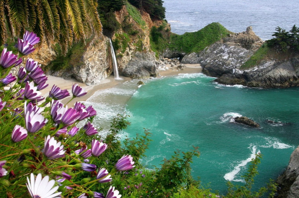 linhas costeiras, Big Sur, Califórnia, EUA