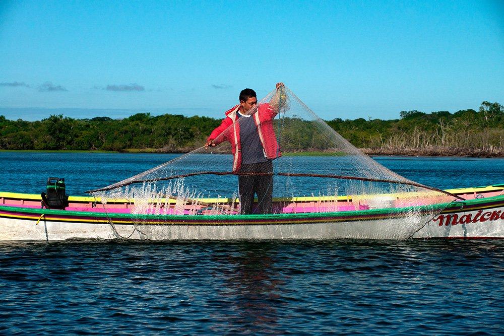 imagem da-pesca-do-camarão no Parque Nacional do Superagui