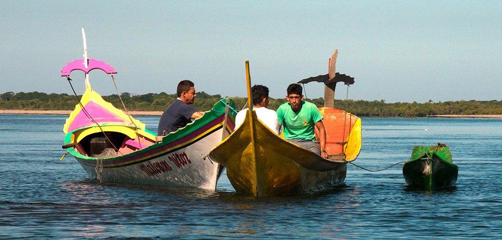 imagem de -canoas-bordadura-e-de-pau-no Parque Nacional do Superagui
