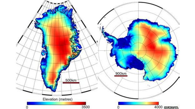 Derretimento de geleiras na Groenlândia e Antártida, gráfico com dados sobre derretimento de gelo na Groenlândia e na Antártida