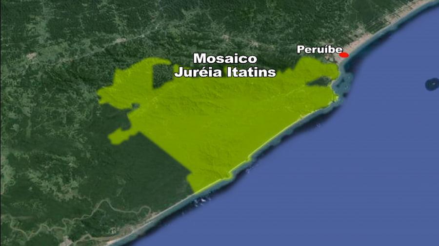 Arie Ilha do Ameixal e Mosaico Juréia- Itatins, iamgem de mapa mosaico-itatins-juréia-