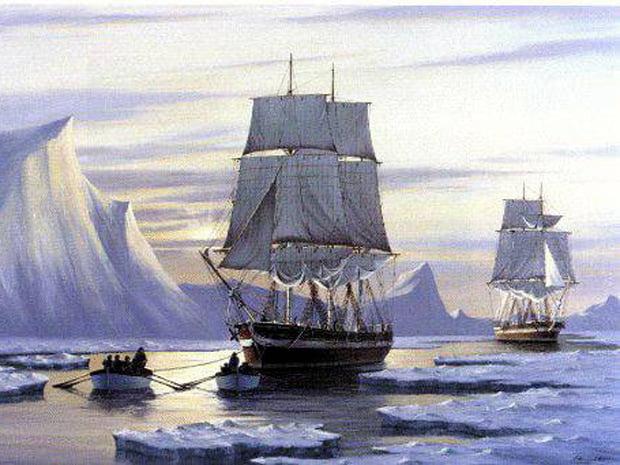 Navio lendário encontrado por canadenses,pintura navios Expedição Franklin Ártico