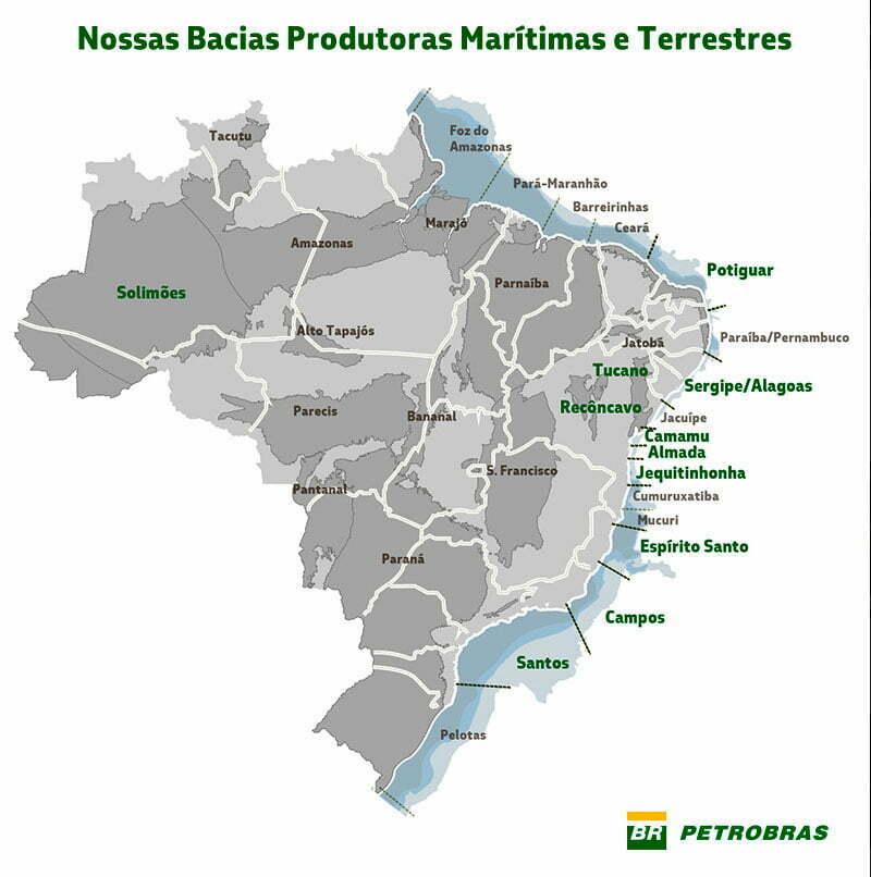 infográfico com bacias produtoras de petróleo no Brasil