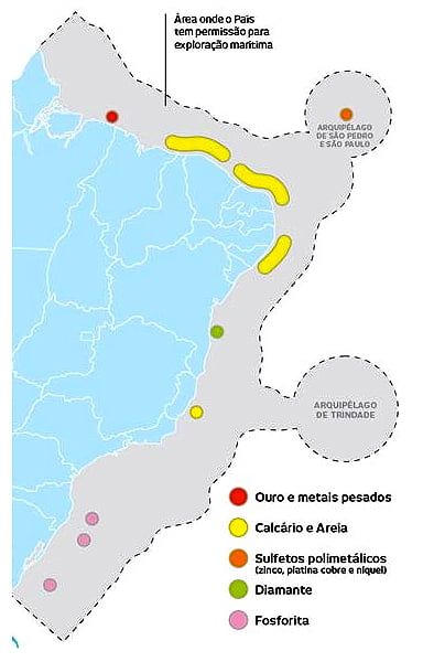 algas calcárias, mapa da plataforma continental do brasil-e-recursos minerais marinhos
