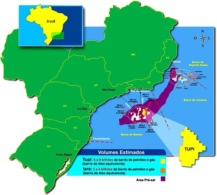 recursos marinhos, ilustração da bacia de petróleo no sudeste brasileiro