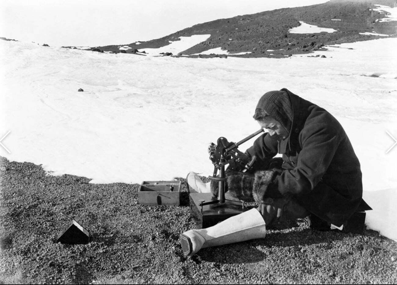imagem de pesquisador da expedição Terra Nova, de Scott, à Antártica