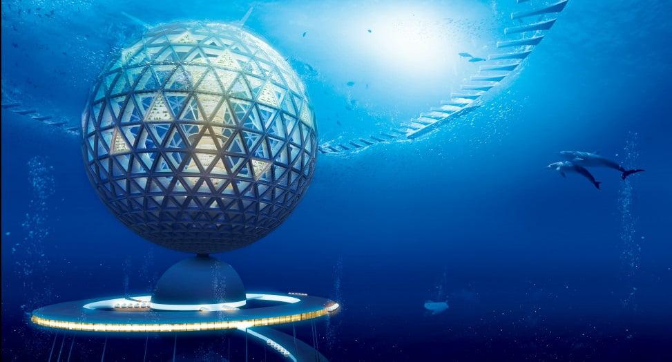 visão geral cidade sustentável no fundo do mar