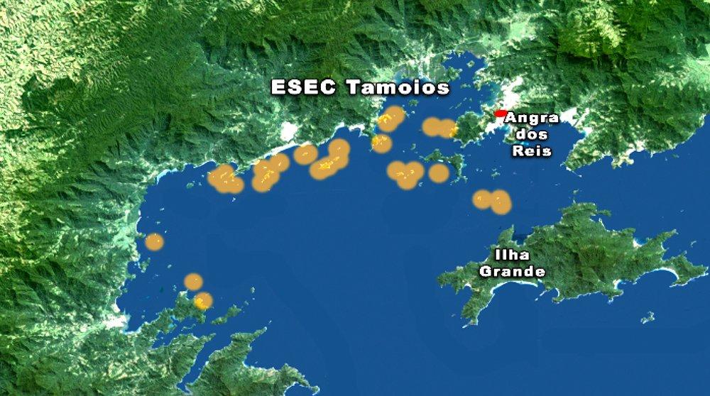 ESEC de Tamoios e seus muitos problemas, mapa-ESEC de Tamoios.