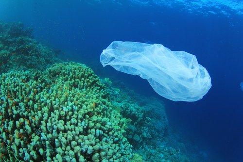 imagem de lixo plástico no mar