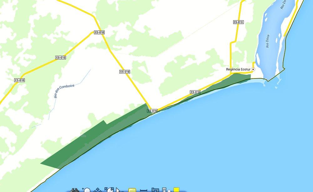 Reserva Biológica dos Comboios e APA Costa das Algas, mapa-da Reserva Biológica dos Comboios,