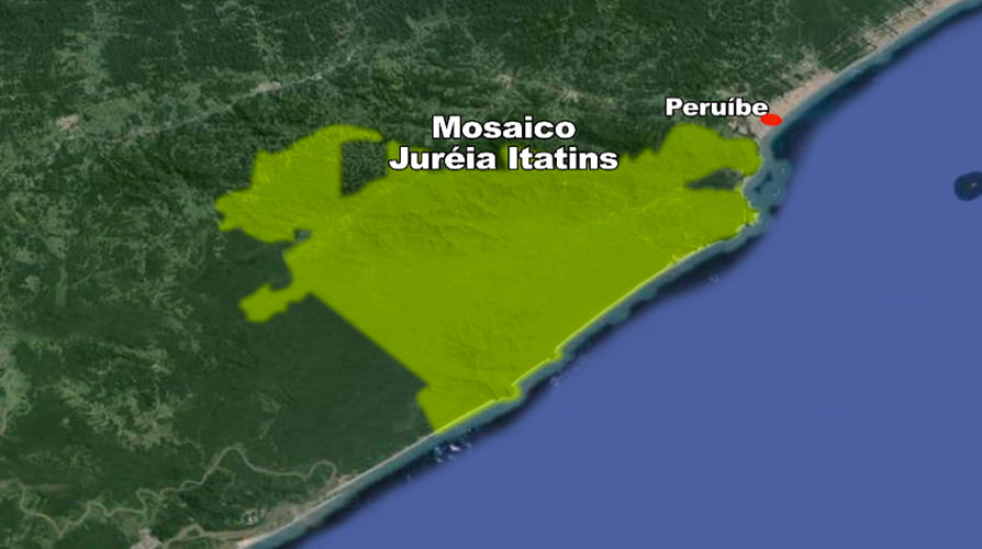 mapa mostrando a área de duas unidades de conservação, Arie Ilha Ameixal e Mosaico Juréia-Itatins