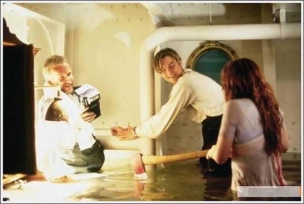 Filme Titanic: bastidores, imagem de leonardo di caprio na Titanic