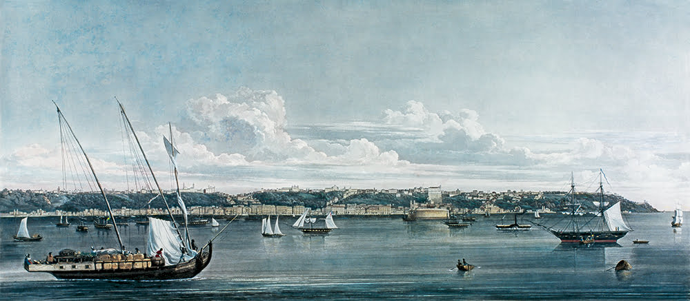 O mar sem fim é portuguez..., imagem de gravura antiga mostrando o barco-do-recôncavo