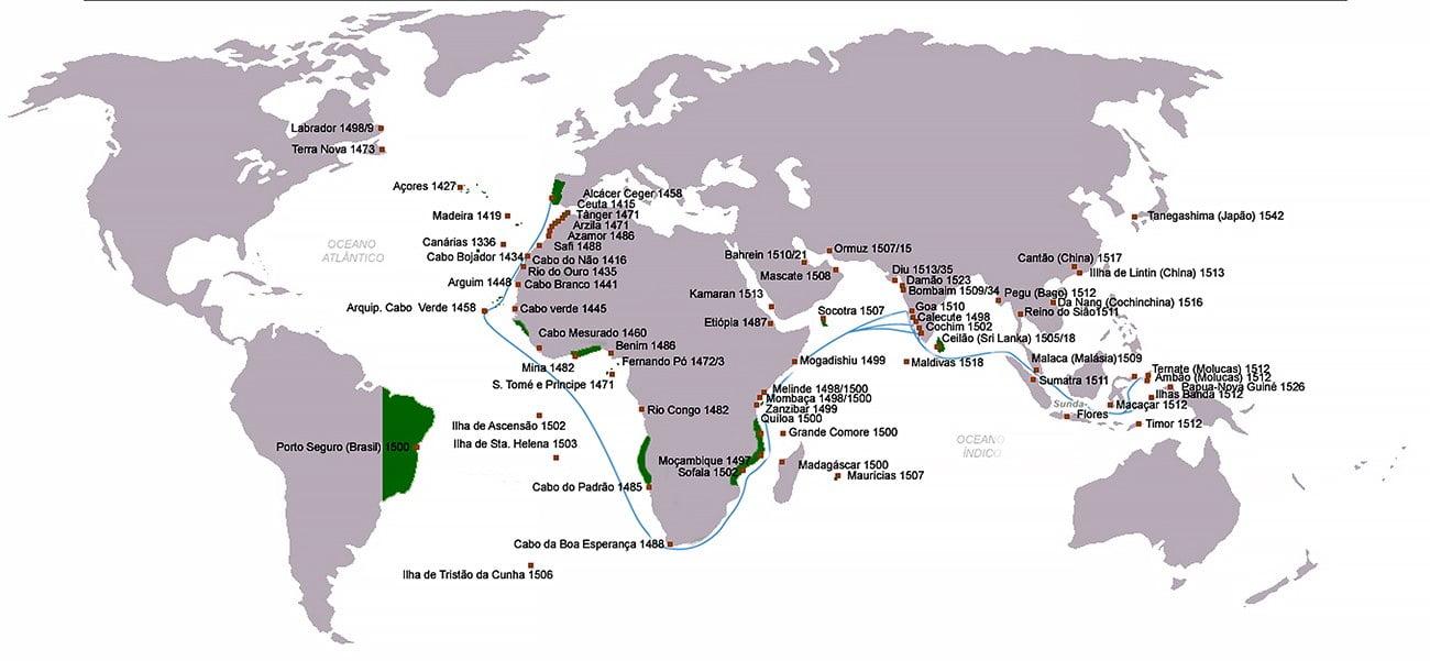 infográfico mostra as descobertas dos nautas portugueses
