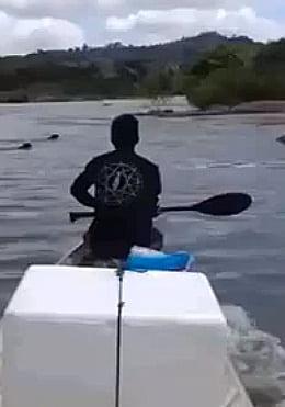 Onça morta a remadas, imagem de pescador em barco