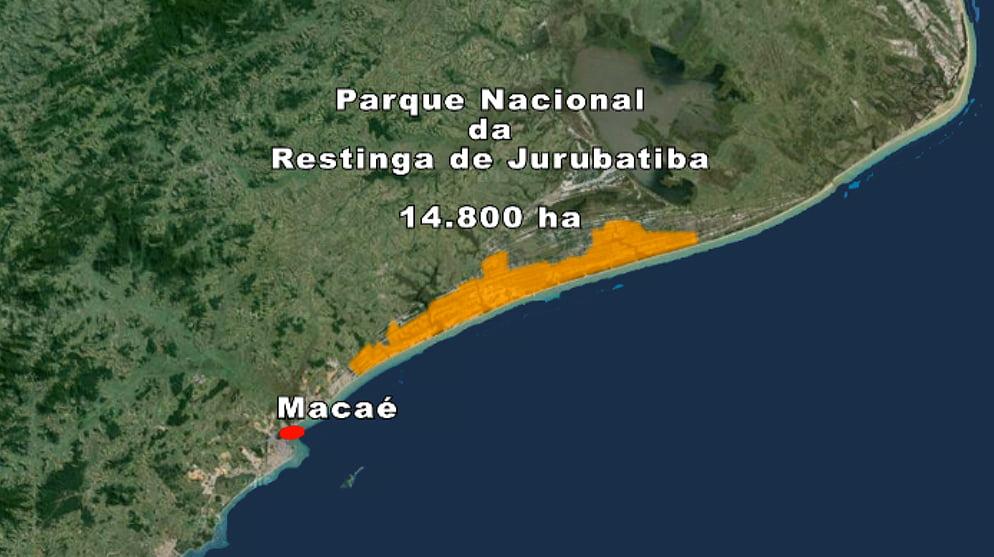 imagem de mapa com localização do parna Restinga de jurubatiba