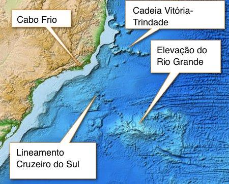 exploração mineral no Atlântico Sul, mapa do oceano perto de Rio Grande