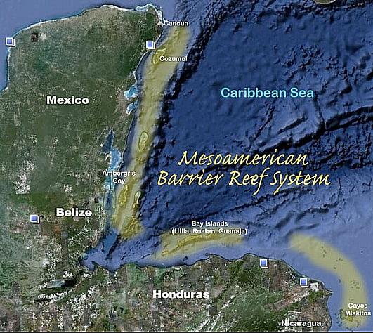 mapa mostrando localização da barreira de corais mesoamericana