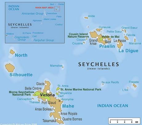 Reservas marinhas X dívida pública, imagem de mapa da reserva marinha de seychelles