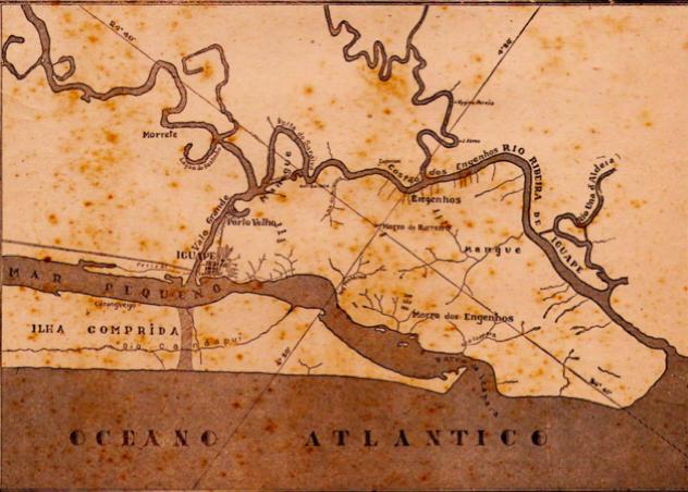 mapa do rio Ribeira de Iguape e o canal do valo grande
