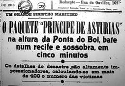 Imagem de jornal antigo com notícia do naufrágio do Príncipe de Astúrias